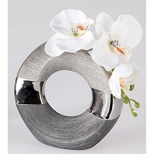 Ausgefallene Deko Silber: Deko Vase LUXOR Rund D. Ca. 18cm Silber Grau Keramik