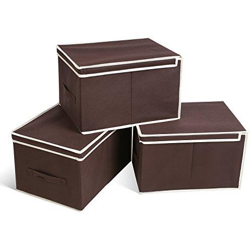 homfa 3er aufbewahrungsboxen stoff mit deckel faltbar schublade organizer stoffbox f r schrank. Black Bedroom Furniture Sets. Home Design Ideas