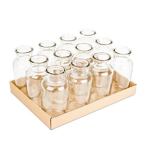 nadeco apothekerflaschen 12 st ck ca 16x8cm apotheker flaschen glasfl schchen deko. Black Bedroom Furniture Sets. Home Design Ideas