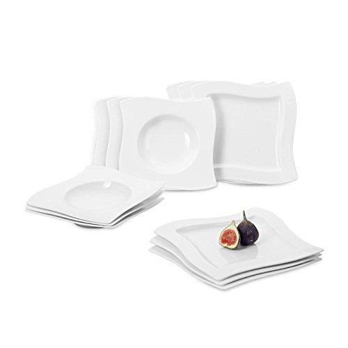 villeroy boch newwave tafelservice f r bis zu 6 personen 12 teilig premium porzellan wei. Black Bedroom Furniture Sets. Home Design Ideas