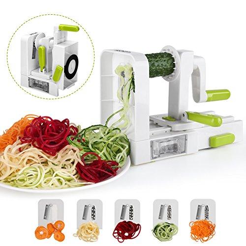 sedhoom spiralschneider mit 5 klingen faltebar gem se spaghetti zucchini kartoffel schneider. Black Bedroom Furniture Sets. Home Design Ideas
