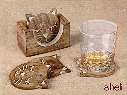 Icrafts Set Mit 4 Holz-Untersetzern Für Getränke, Tee